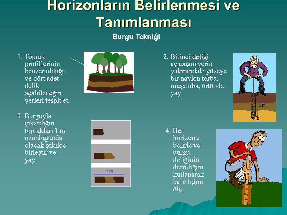 Burgu Tekniği 1. Toprak profillerinin benzer olduğu ve dört adet delik açabileceğin yerleri tespit et. 3. Burguyla çıkardığın toprakları 1 m uzunluğun