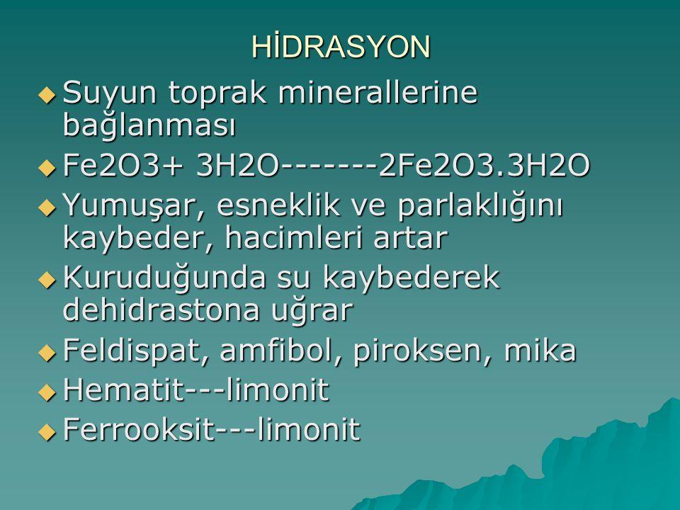 HİDRASYON  Suyun toprak minerallerine bağlanması  Fe2O3+ 3H2O-------2Fe2O3.3H2O  Yumuşar, esneklik ve parlaklığını kaybeder, hacimleri artar  Kuru