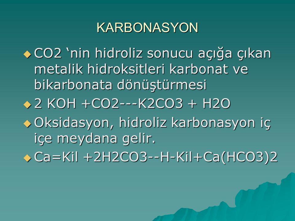 KARBONASYON  CO2 'nin hidroliz sonucu açığa çıkan metalik hidroksitleri karbonat ve bikarbonata dönüştürmesi  2 KOH +CO2---K2CO3 + H2O  Oksidasyon,