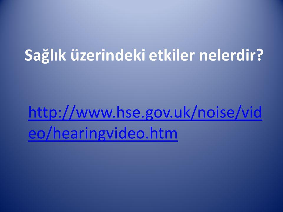 Sağlık üzerindeki etkiler nelerdir? http://www.hse.gov.uk/noise/vid eo/hearingvideo.htm