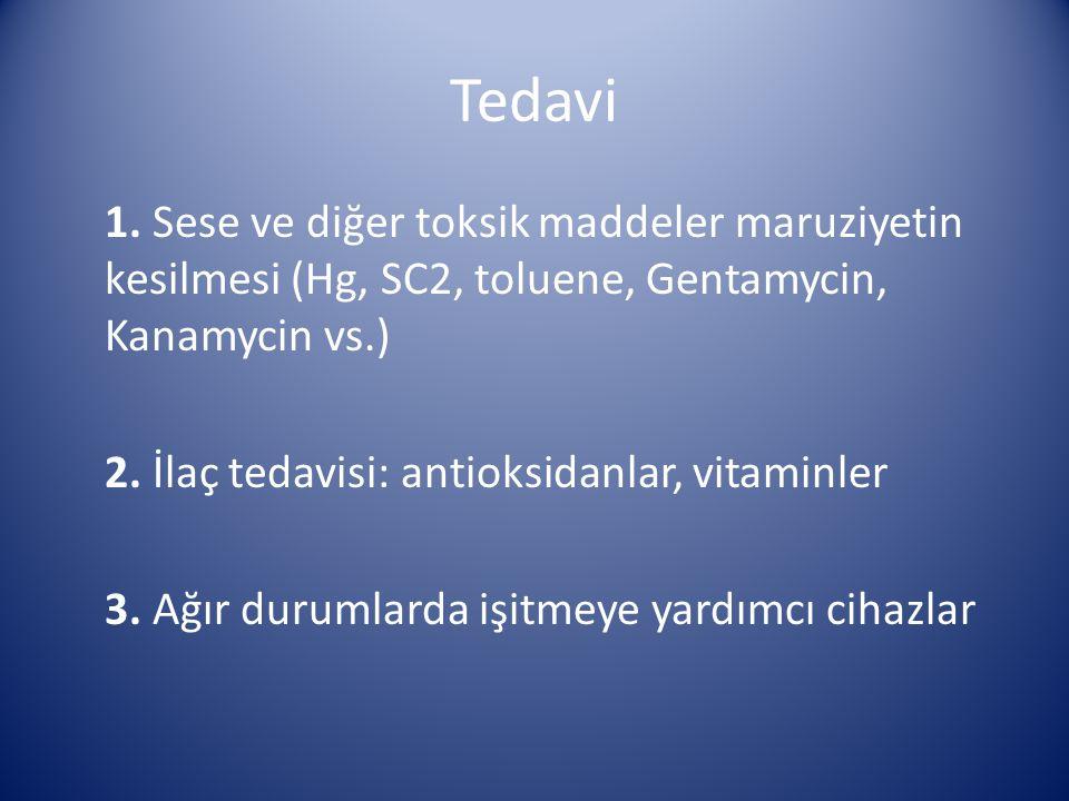 Tedavi 1. Sese ve diğer toksik maddeler maruziyetin kesilmesi (Hg, SC2, toluene, Gentamycin, Kanamycin vs.) 2. İlaç tedavisi: antioksidanlar, vitaminl