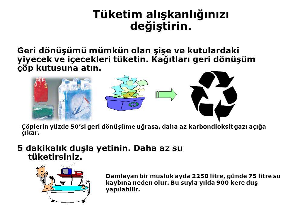 Tüketim alışkanlığınızı değiştirin. Geri dönüşümü mümkün olan şişe ve kutulardaki yiyecek ve içecekleri tüketin. Kağıtları geri dönüşüm çöp kutusuna a