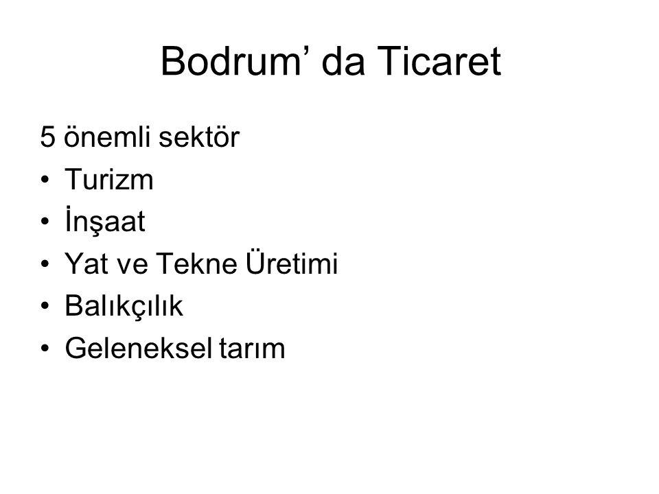 Bodrum' da Ticaret 5 önemli sektör •Turizm •İnşaat •Yat ve Tekne Üretimi •Balıkçılık •Geleneksel tarım