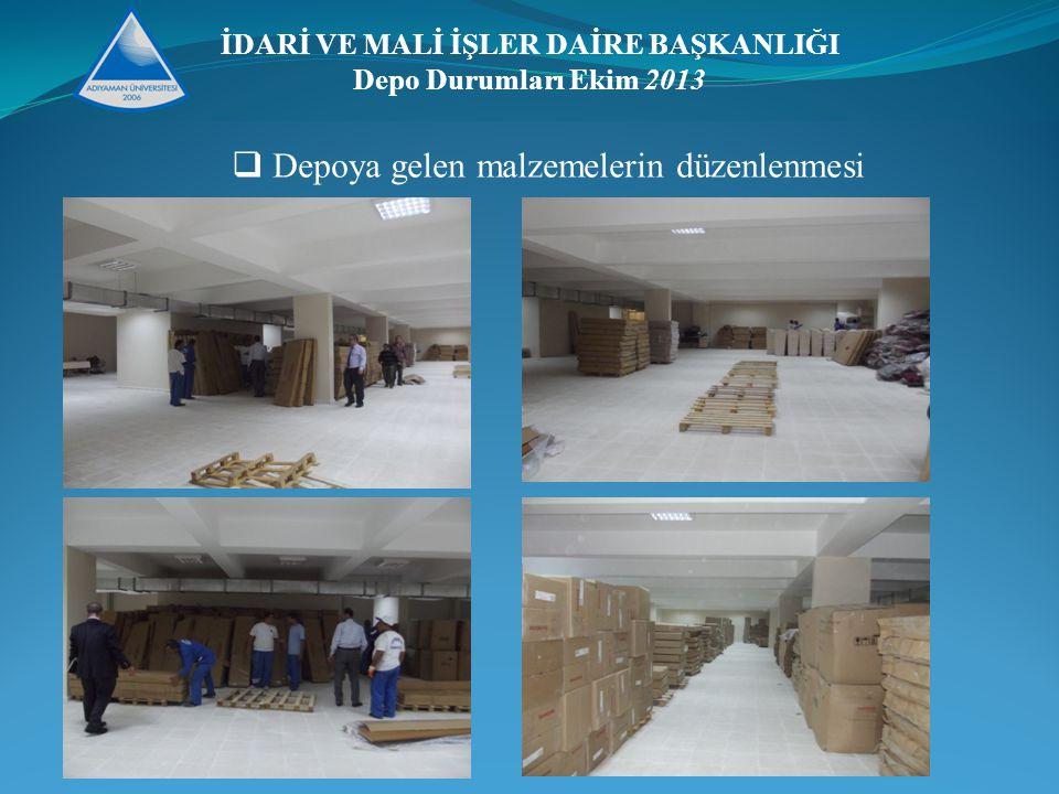 İDARİ VE MALİ İŞLER DAİRE BAŞKANLIĞI Depo Durumları Ekim 2013  Depoya gelen malzemelerin düzenlenmesi