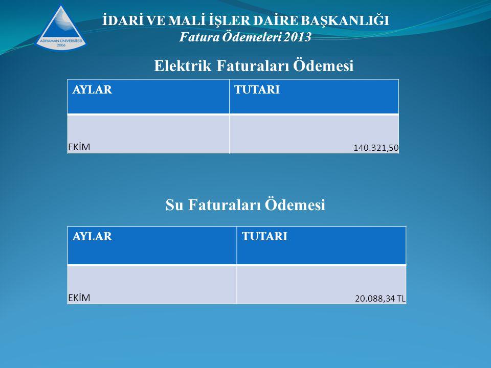 İDARİ VE MALİ İŞLER DAİRE BAŞKANLIĞI Fatura Ödemeleri 2013 AYLARTUTARI EKİM 140.321,50 Elektrik Faturaları Ödemesi Su Faturaları Ödemesi AYLARTUTARI EKİM 20.088,34 TL