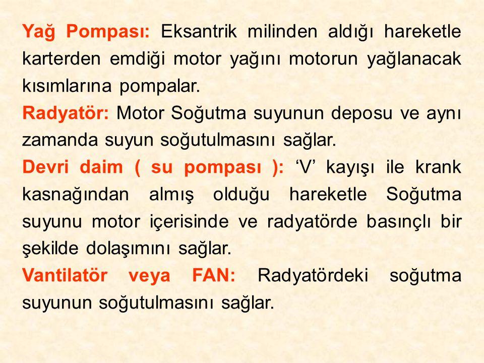 Yağ Pompası: Eksantrik milinden aldığı hareketle karterden emdiği motor yağını motorun yağlanacak kısımlarına pompalar. Radyatör: Motor Soğutma suyunu