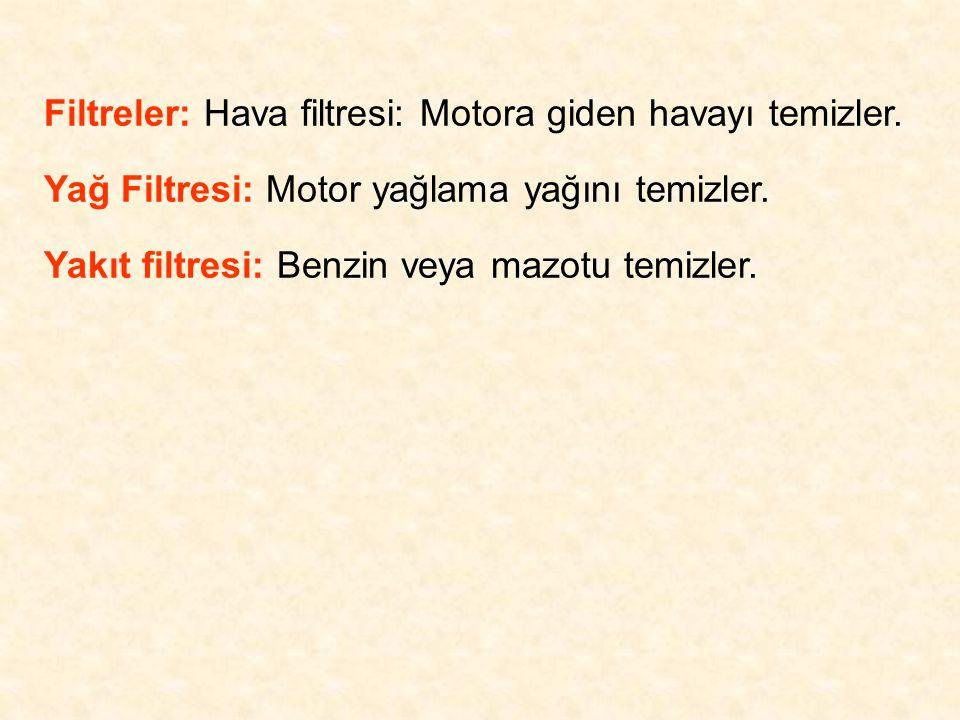 Filtreler: Hava filtresi: Motora giden havayı temizler. Yağ Filtresi: Motor yağlama yağını temizler. Yakıt filtresi: Benzin veya mazotu temizler.