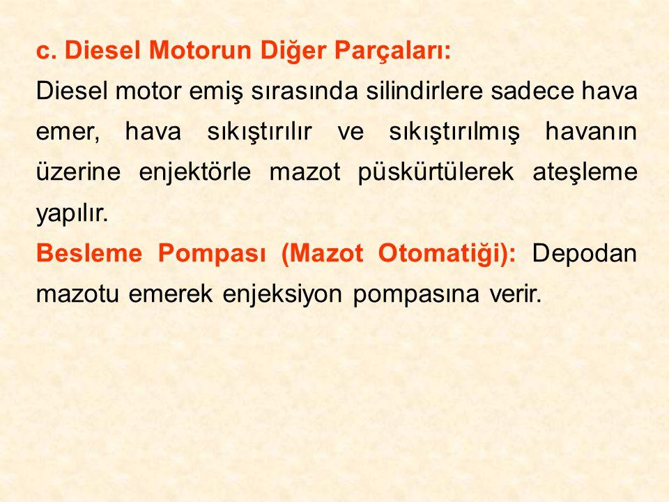 c. Diesel Motorun Diğer Parçaları: Diesel motor emiş sırasında silindirlere sadece hava emer, hava sıkıştırılır ve sıkıştırılmış havanın üzerine enjek