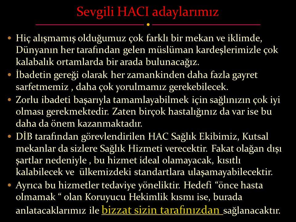 Sevgili HACI adaylarımız  Hiç alışmamış olduğumuz çok farklı bir mekan ve iklimde, Dünyanın her tarafından gelen müslüman kardeşlerimizle çok kalabal