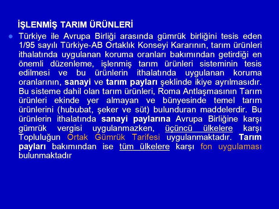 İŞLENMİŞ TARIM ÜRÜNLERİ  Türkiye ile Avrupa Birliği arasında gümrük birliğini tesis eden 1/95 sayılı Türkiye-AB Ortaklık Konseyi Kararının, tarım ürü