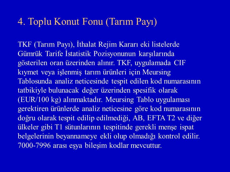 4. Toplu Konut Fonu (Tarım Payı) TKF (Tarım Payı), İthalat Rejim Kararı eki listelerde Gümrük Tarife İstatistik Pozisyonunun karşılarında gösterilen o