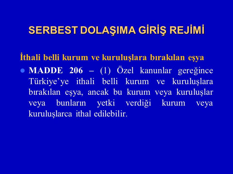 SERBEST DOLAŞIMA GİRİŞ REJİMİ İthali belli kurum ve kuruluşlara bırakılan eşya  MADDE 206 – (1) Özel kanunlar gereğince Türkiye'ye ithali belli kurum