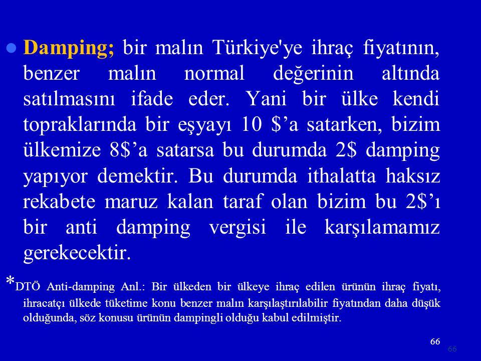 66  Damping; bir malın Türkiye'ye ihraç fiyatının, benzer malın normal değerinin altında satılmasını ifade eder. Yani bir ülke kendi topraklarında bi