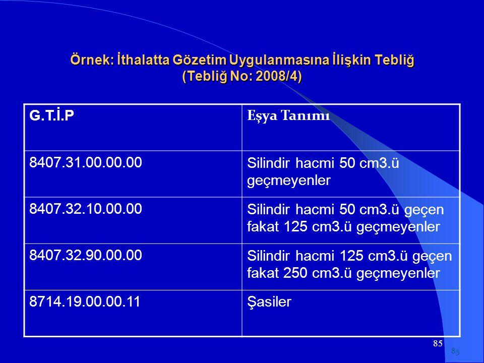 85 Örnek: İthalatta Gözetim Uygulanmasına İlişkin Tebliğ (Tebliğ No: 2008/4) G.T.İ.P Eşya Tanımı 8407.31.00.00.00Silindir hacmi 50 cm3.ü geçmeyenler 8