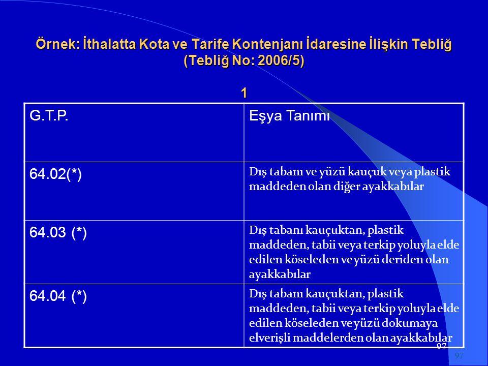 97 Örnek: İthalatta Kota ve Tarife Kontenjanı İdaresine İlişkin Tebliğ (Tebliğ No: 2006/5) 1 G.T.P.Eşya Tanımı 64.02(*) Dış tabanı ve yüzü kauçuk veya