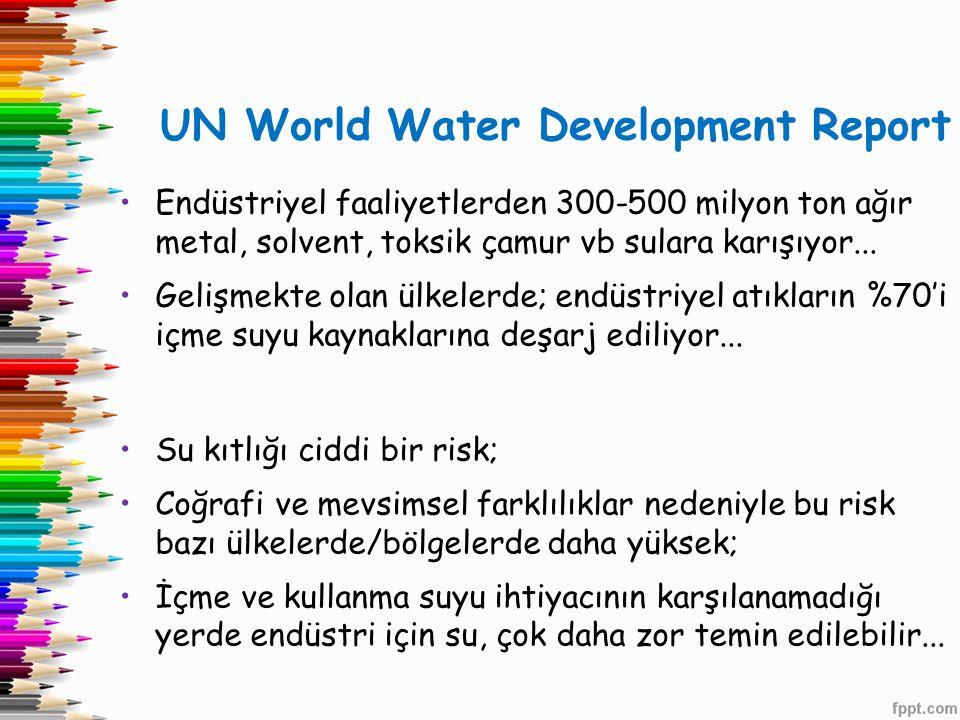 UN World Water Development Report •Endüstriyel faaliyetlerden 300-500 milyon ton ağır metal, solvent, toksik çamur vb sulara karışıyor... •Gelişmekte