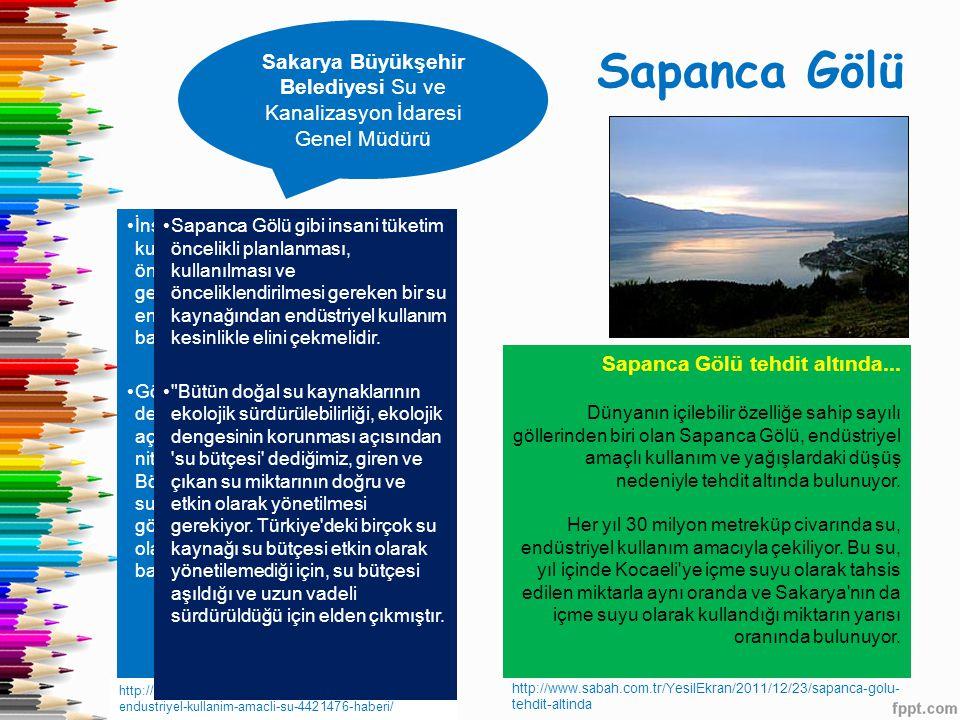 Sapanca Gölü Sakarya Büyükşehir Belediyesi Su ve Kanalizasyon İdaresi Genel Müdürü http://www.haberler.com/sapanca-golu-nden- endustriyel-kullanim-ama