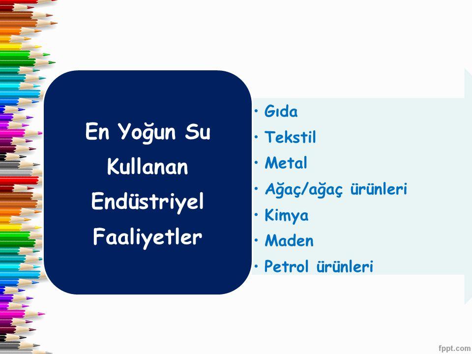 •Gıda •Tekstil •Metal •Ağaç/ağaç ürünleri •Kimya •Maden •Petrol ürünleri En Yoğun Su Kullanan Endüstriyel Faaliyetler