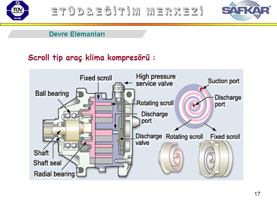 17 Devre Elemanları Scroll tip araç klima kompresörü :
