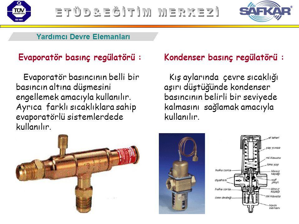 58 Yardımcı Devre Elemanları Evaporatör basınç regülatörü : Evaporatör basıncının belli bir basıncın altına düşmesini engellemek amacıyla kullanılır.