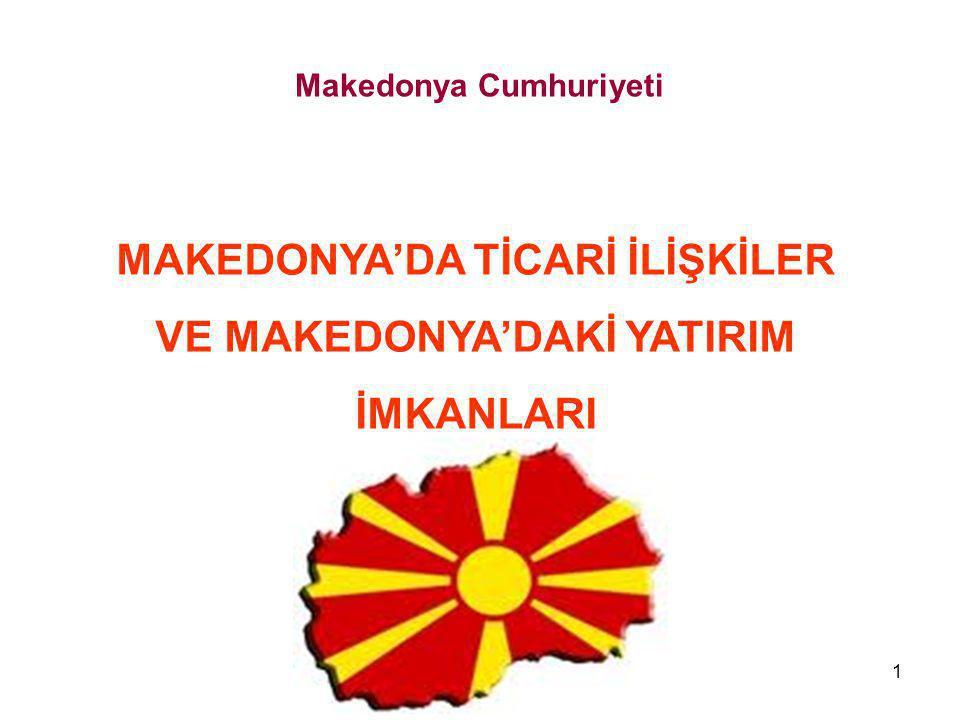 1 MAKEDONYA'DA TİCARİ İLİŞKİLER VE MAKEDONYA'DAKİ YATIRIM İMKANLARI Makedonya Cumhuriyeti
