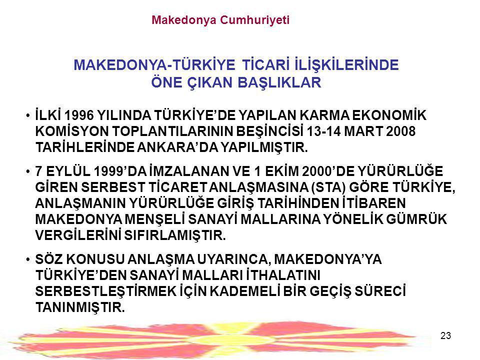 23 Makedonya Cumhuriyeti MAKEDONYA-TÜRKİYE TİCARİ İLİŞKİLERİNDE ÖNE ÇIKAN BAŞLIKLAR •İLKİ 1996 YILINDA TÜRKİYE'DE YAPILAN KARMA EKONOMİK KOMİSYON TOPL