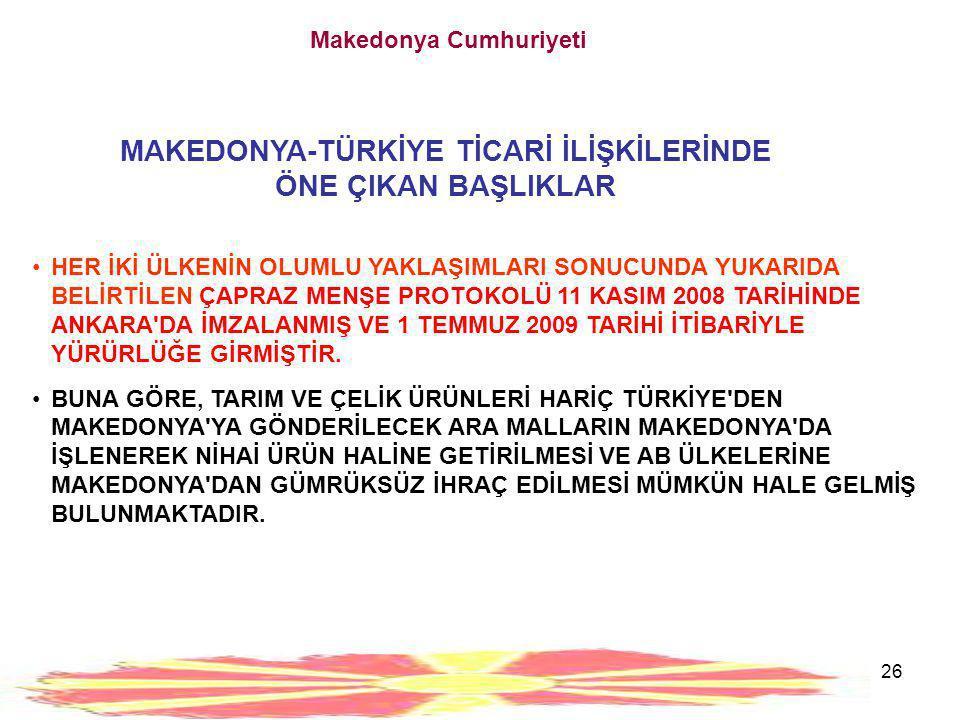27 Makedonya Cumhuriyeti 4. MAKEDONYA İLE TİCARET VE YATIRIM İÇİN BAZI SEKTÖRLER