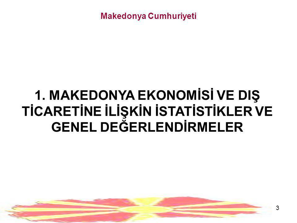 3 Makedonya Cumhuriyeti 1. MAKEDONYA EKONOMİSİ VE DIŞ TİCARETİNE İLİŞKİN İSTATİSTİKLER VE GENEL DEĞERLENDİRMELER