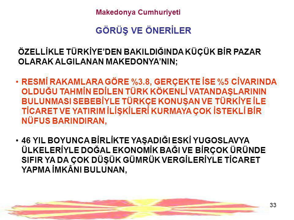 33 Makedonya Cumhuriyeti GÖRÜŞ VE ÖNERİLER ÖZELLİKLE TÜRKİYE'DEN BAKILDIĞINDA KÜÇÜK BİR PAZAR OLARAK ALGILANAN MAKEDONYA'NIN; •RESMİ RAKAMLARA GÖRE %3