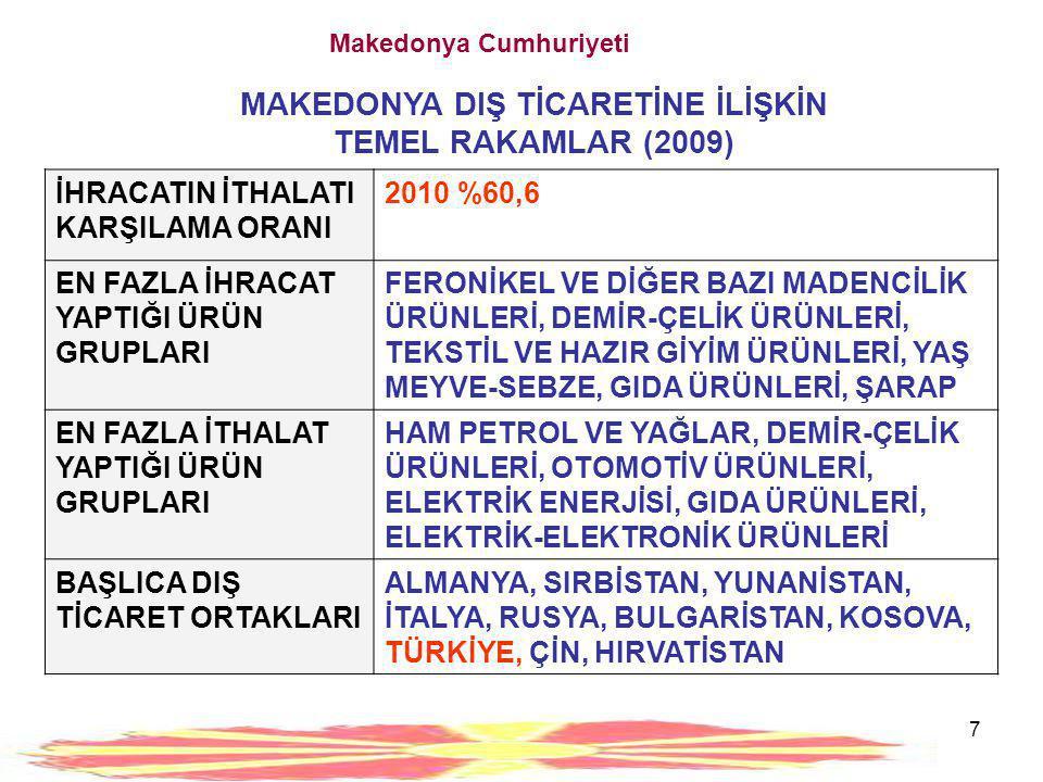 8 Makedonya Cumhuriyeti MAKEDONYA EKONOMİSİ VE DIŞ TİCARETİNE İLİŞKİN GENEL DEĞERLENDİRMELER •MAKEDONYA'NIN ULUSLARARASI TİCARET POLİTİKASINA BAKILDIĞINDA, ÜLKENİN DÜNYAYA AÇILMAYI ANA POLİTİKA OLARAK BENİMSEDİĞİ GÖRÜLMEKTEDİR.