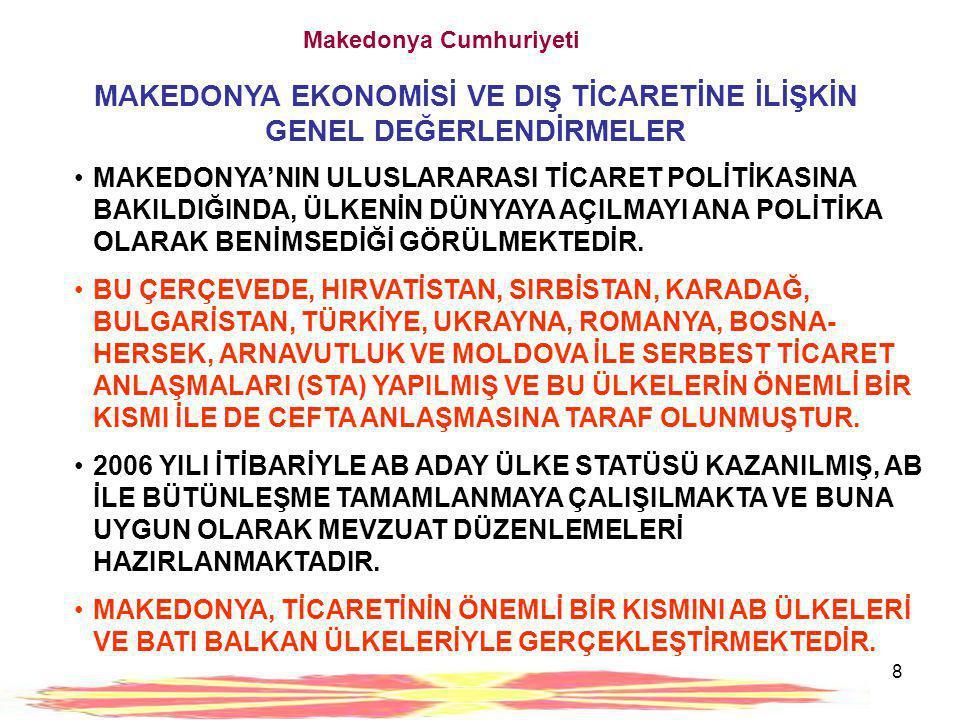 8 Makedonya Cumhuriyeti MAKEDONYA EKONOMİSİ VE DIŞ TİCARETİNE İLİŞKİN GENEL DEĞERLENDİRMELER •MAKEDONYA'NIN ULUSLARARASI TİCARET POLİTİKASINA BAKILDIĞ