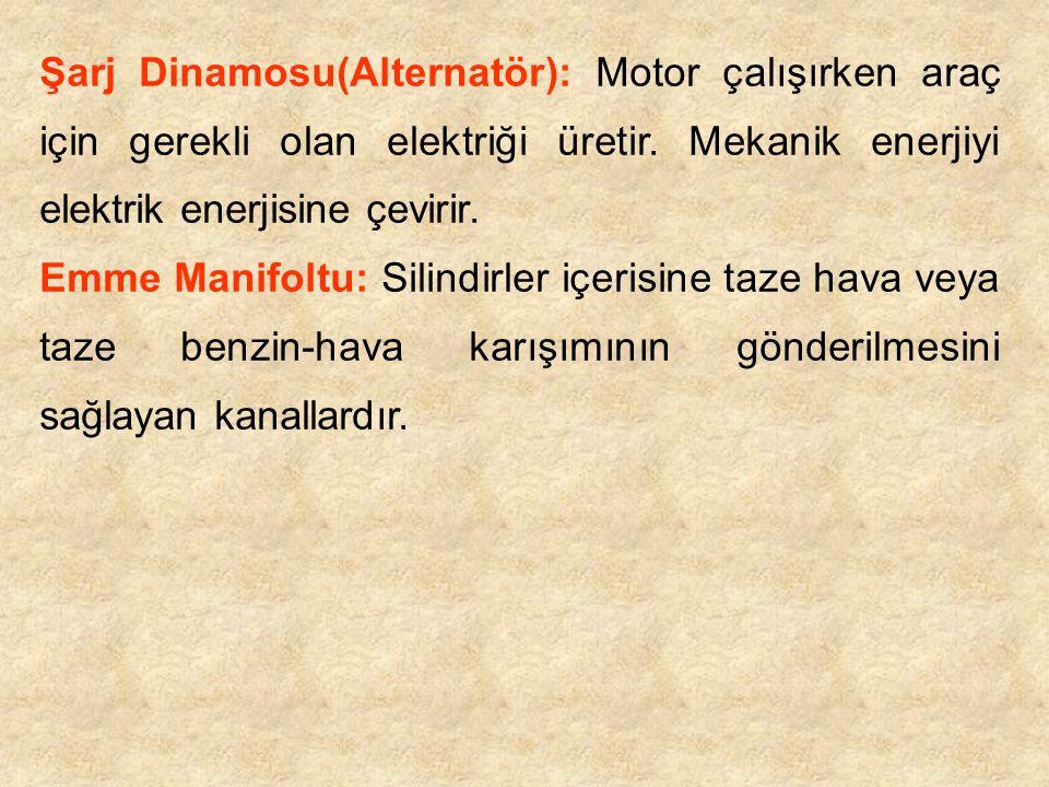 Şarj Dinamosu(Alternatör): Motor çalışırken araç için gerekli olan elektriği üretir. Mekanik enerjiyi elektrik enerjisine çevirir. Emme Manifoltu: Sil