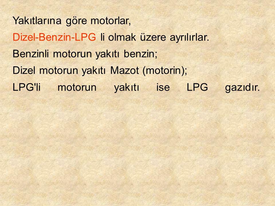 Yakıtlarına göre motorlar, Dizel-Benzin-LPG li olmak üzere ayrılırlar. Benzinli motorun yakıtı benzin; Dizel motorun yakıtı Mazot (motorin); LPG'li mo