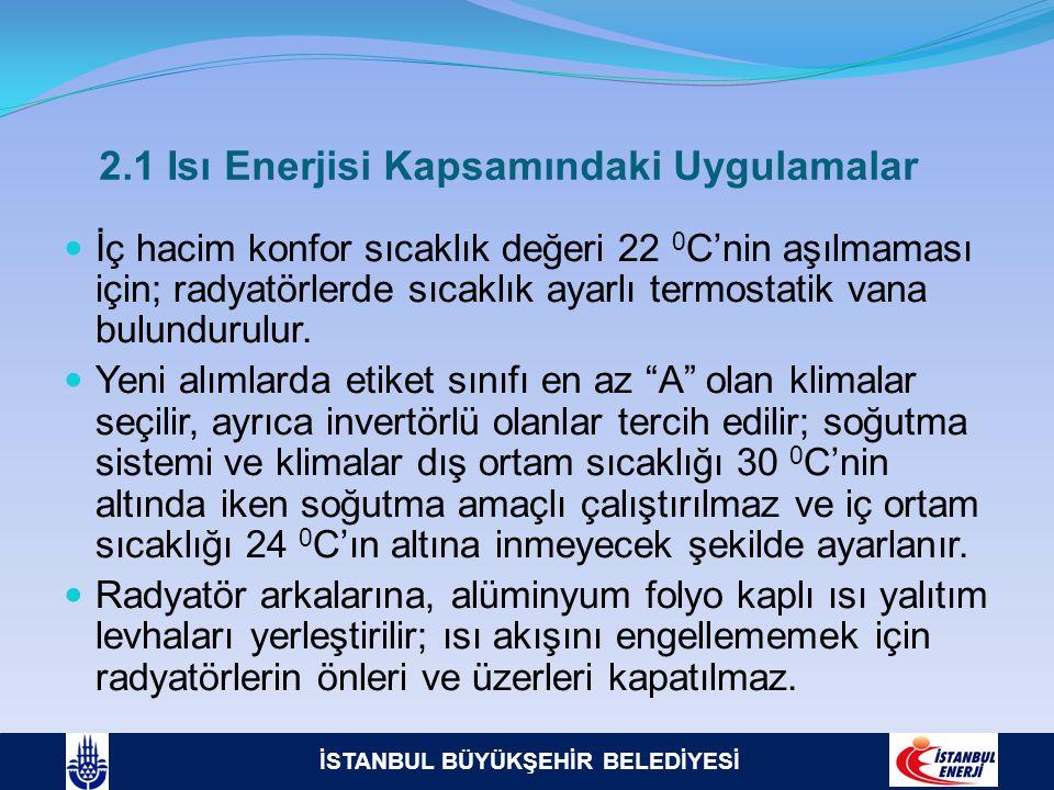 İSTANBUL BÜYÜKŞEHİR BELEDİYESİ 2.1 Isı Enerjisi Kapsamındaki Uygulamalar  İç hacim konfor sıcaklık değeri 22 0 C'nin aşılmaması için; radyatörlerde s