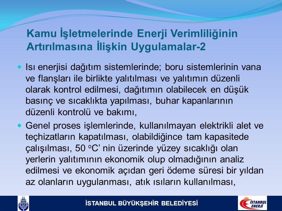 İSTANBUL BÜYÜKŞEHİR BELEDİYESİ Kamu İşletmelerinde Enerji Verimliliğinin Artırılmasına İlişkin Uygulamalar-2  Isı enerjisi dağıtım sistemlerinde; bor