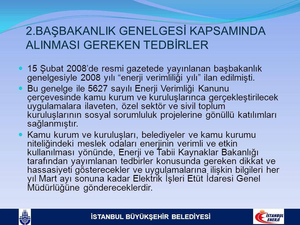 İSTANBUL BÜYÜKŞEHİR BELEDİYESİ 2.BAŞBAKANLIK GENELGESİ KAPSAMINDA ALINMASI GEREKEN TEDBİRLER  15 Şubat 2008'de resmi gazetede yayınlanan başbakanlık