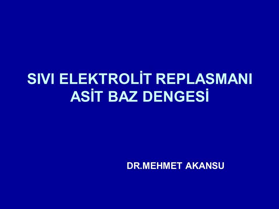 SIVI ELEKTROLİT REPLASMANI ASİT BAZ DENGESİ DR.MEHMET AKANSU