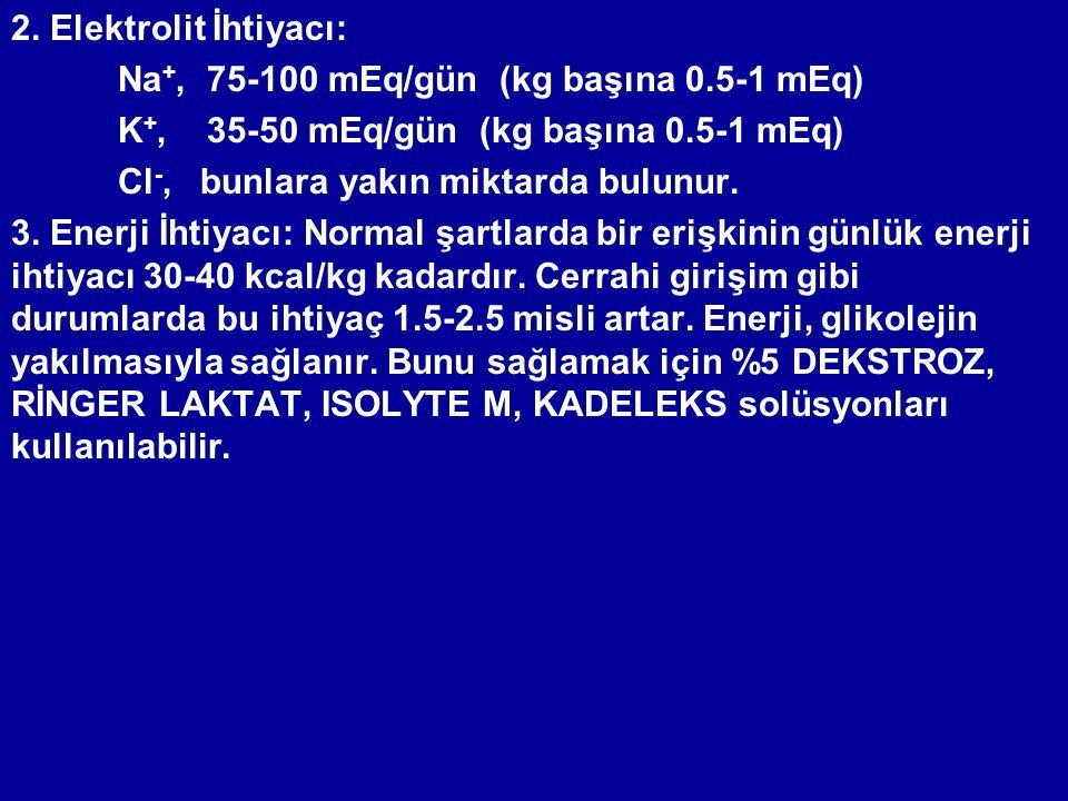 2. Elektrolit İhtiyacı: Na +, 75-100 mEq/gün (kg başına 0.5-1 mEq) K +, 35-50 mEq/gün (kg başına 0.5-1 mEq) Cl -, bunlara yakın miktarda bulunur. 3. E