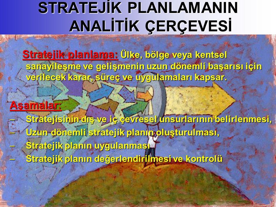 STRATEJİK PLANLAMANIN ANALİTİK ÇERÇEVESİ Stratejik planlama: Ülke, bölge veya kentsel sanayileşme ve gelişmenin uzun dönemli başarısı için verilecek karar, süreç ve uygulamaları kapsar.