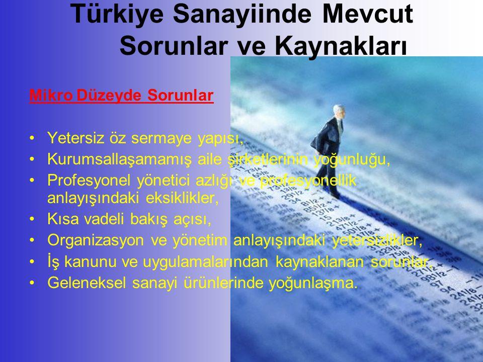 Türkiye Sanayiinde Mevcut Sorunlar ve Kaynakları Mikro Düzeyde Sorunlar •Yetersiz öz sermaye yapısı, •Kurumsallaşamamış aile şirketlerinin yoğunluğu,