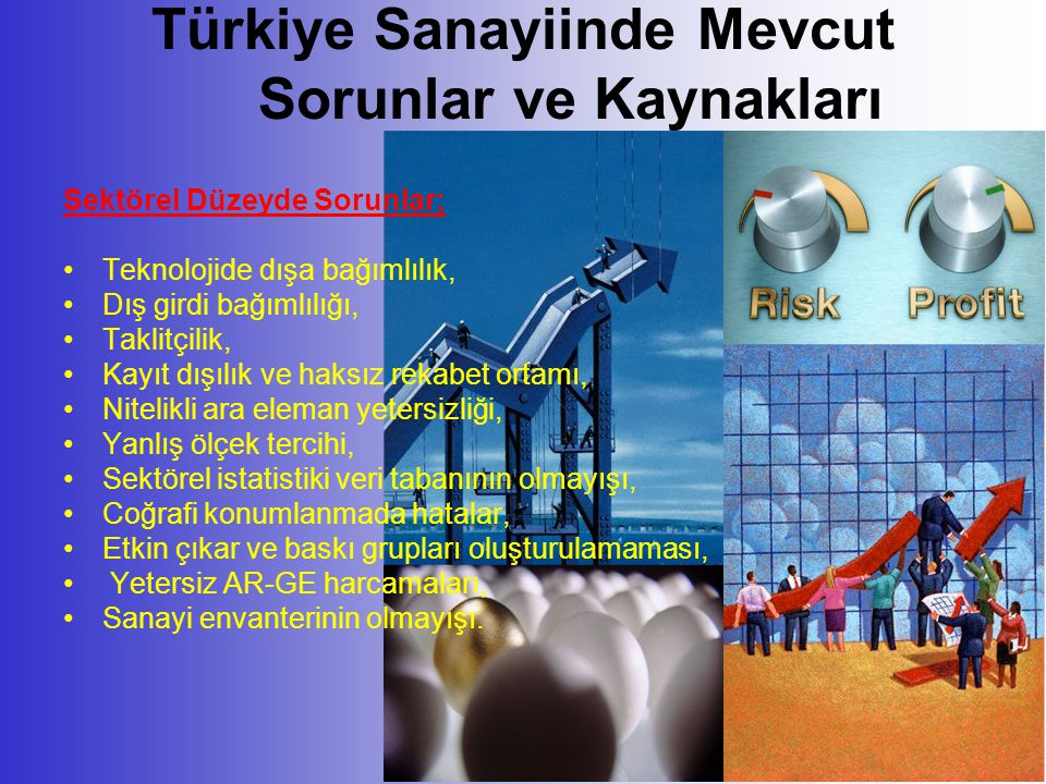Türkiye Sanayiinde Mevcut Sorunlar ve Kaynakları Sektörel Düzeyde Sorunlar; •Teknolojide dışa bağımlılık, •Dış girdi bağımlılığı, •Taklitçilik, •Kayıt dışılık ve haksız rekabet ortamı, •Nitelikli ara eleman yetersizliği, •Yanlış ölçek tercihi, •Sektörel istatistiki veri tabanının olmayışı, •Coğrafi konumlanmada hatalar, •Etkin çıkar ve baskı grupları oluşturulamaması, • Yetersiz AR-GE harcamaları, •Sanayi envanterinin olmayışı.