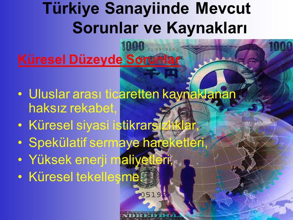 Türkiye Sanayiinde Mevcut Sorunlar ve Kaynakları Küresel Düzeyde Sorunlar •Uluslar arası ticaretten kaynaklanan haksız rekabet, •Küresel siyasi istikrarsızlıklar, •Spekülatif sermaye hareketleri, •Yüksek enerji maliyetleri, •Küresel tekelleşme.