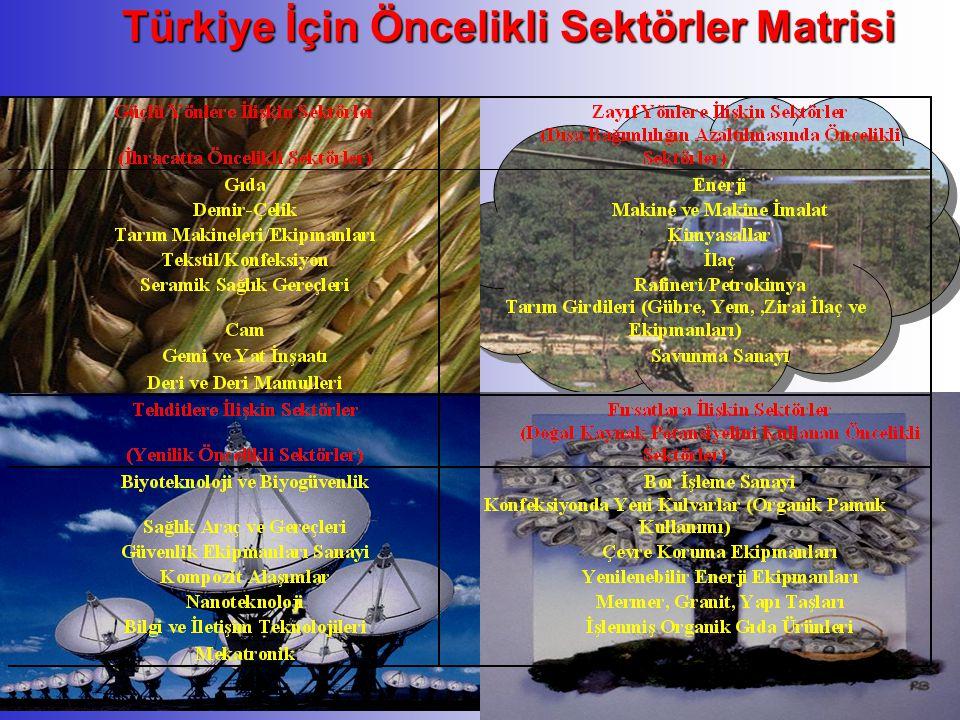 Türkiye İçin Öncelikli Sektörler Matrisi