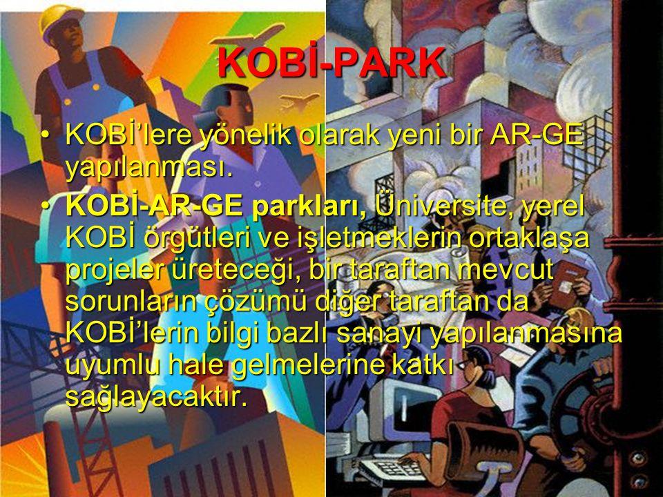KOBİ-PARK •KOBİ'lere yönelik olarak yeni bir AR-GE yapılanması. •KOBİ-AR-GE parkları, Üniversite, yerel KOBİ örgütleri ve işletmeklerin ortaklaşa proj