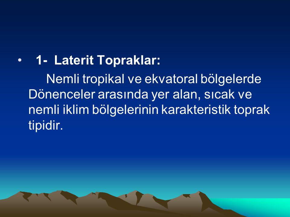 • 1- Laterit Topraklar: Nemli tropikal ve ekvatoral bölgelerde Dönenceler arasında yer alan, sıcak ve nemli iklim bölgelerinin karakteristik toprak ti