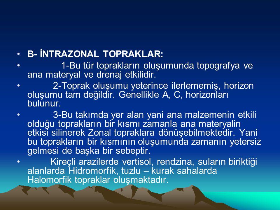 •B- İNTRAZONAL TOPRAKLAR: • 1-Bu tür toprakların oluşumunda topografya ve ana materyal ve drenaj etkilidir. • 2-Toprak oluşumu yeterince ilerlememiş,