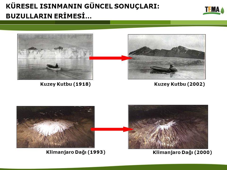 Kuzey Kutbu (2002) Kuzey Kutbu (1918) Klimanjaro Dağı (1993) Klimanjaro Dağı (2000) KÜRESEL ISINMANIN GÜNCEL SONUÇLARI: BUZULLARIN ERİMESİ…