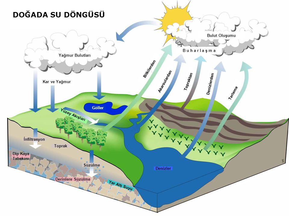 Yağmur Bulutları Kar ve Yağmur Göller Yüzey Akışları İnfiltrasyon Toprak Süzülme Dip Kaya Tabakası Derinlere Süzülme Yer Altı Suyu Denizler Terleme De