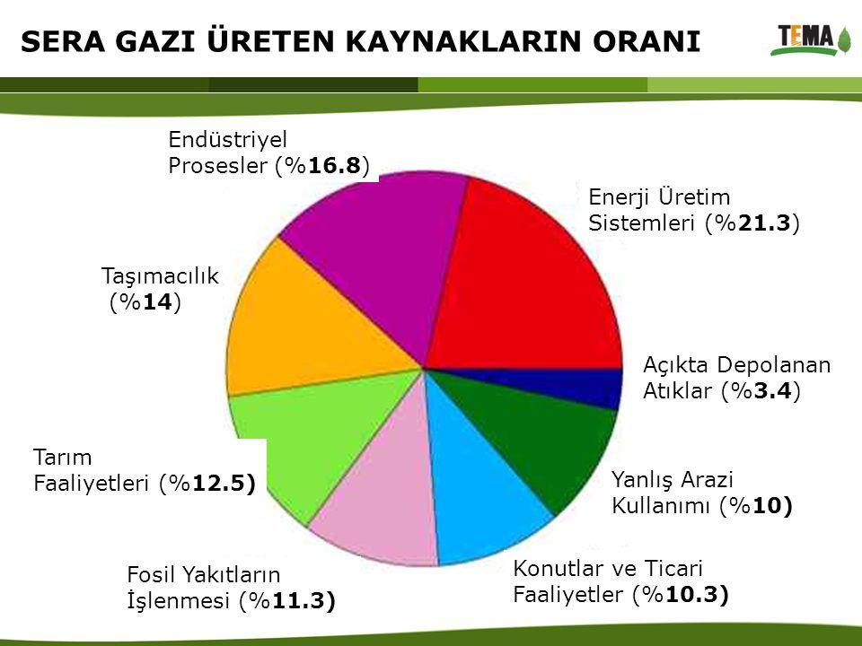 Endüstriyel Prosesler (%16.8) Taşımacılık (%14) Tarım Faaliyetleri (%12.5) Fosil Yakıtların İşlenmesi (%11.3) Konutlar ve Ticari Faaliyetler (%10.3) Y