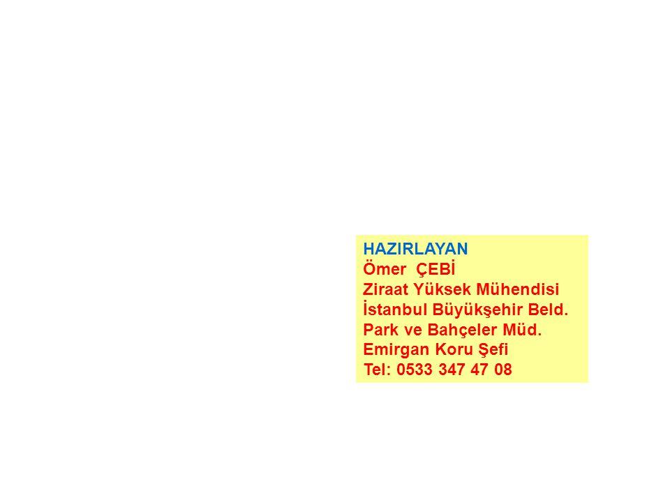 HAZIRLAYAN Ömer ÇEBİ Ziraat Yüksek Mühendisi İstanbul Büyükşehir Beld.